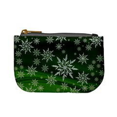 Christmas Star Ice Crystal Green Background Mini Coin Purses