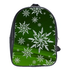 Christmas Star Ice Crystal Green Background School Bag (large)