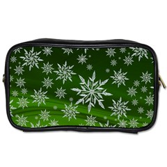 Christmas Star Ice Crystal Green Background Toiletries Bags