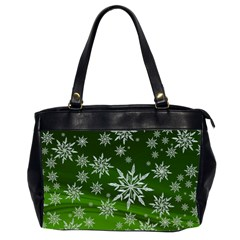 Christmas Star Ice Crystal Green Background Office Handbags (2 Sides)