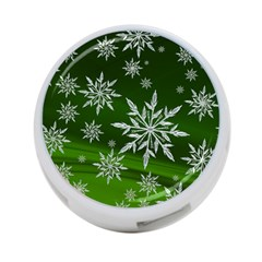 Christmas Star Ice Crystal Green Background 4 Port Usb Hub (two Sides)
