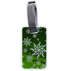 Christmas Star Ice Crystal Green Background Luggage Tags (one Side)