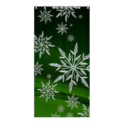 Christmas Star Ice Crystal Green Background Shower Curtain 36  X 72  (stall)