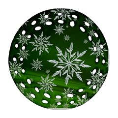 Christmas Star Ice Crystal Green Background Ornament (round Filigree)