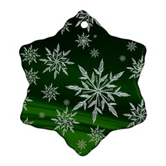 Christmas Star Ice Crystal Green Background Snowflake Ornament (two Sides)