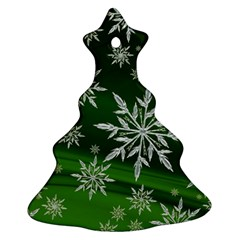 Christmas Star Ice Crystal Green Background Christmas Tree Ornament (two Sides)