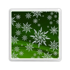 Christmas Star Ice Crystal Green Background Memory Card Reader (square)