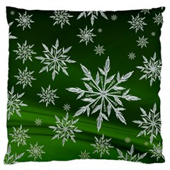 Christmas Star Ice Crystal Green Background Large Cushion Case (one Side)