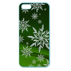 Christmas Star Ice Crystal Green Background Apple Seamless Iphone 5 Case (color)