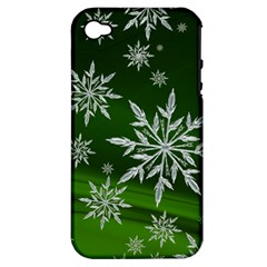 Christmas Star Ice Crystal Green Background Apple Iphone 4/4s Hardshell Case (pc+silicone)