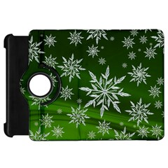 Christmas Star Ice Crystal Green Background Kindle Fire Hd 7