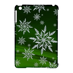 Christmas Star Ice Crystal Green Background Apple Ipad Mini Hardshell Case (compatible With Smart Cover)