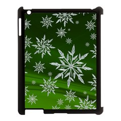Christmas Star Ice Crystal Green Background Apple Ipad 3/4 Case (black)