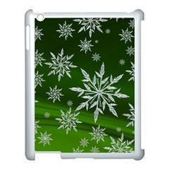 Christmas Star Ice Crystal Green Background Apple Ipad 3/4 Case (white)