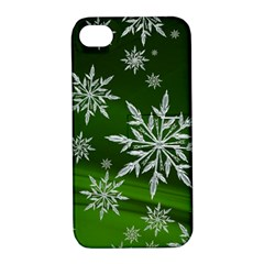 Christmas Star Ice Crystal Green Background Apple Iphone 4/4s Hardshell Case With Stand