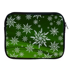 Christmas Star Ice Crystal Green Background Apple Ipad 2/3/4 Zipper Cases