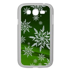 Christmas Star Ice Crystal Green Background Samsung Galaxy Grand Duos I9082 Case (white)
