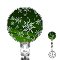 Christmas Star Ice Crystal Green Background Stainless Steel Nurses Watch