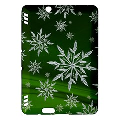 Christmas Star Ice Crystal Green Background Kindle Fire Hdx Hardshell Case