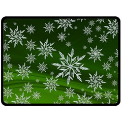 Christmas Star Ice Crystal Green Background Double Sided Fleece Blanket (large)