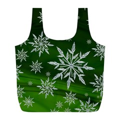 Christmas Star Ice Crystal Green Background Full Print Recycle Bags (l)