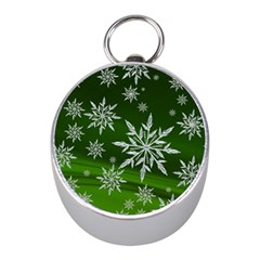 Christmas Star Ice Crystal Green Background Mini Silver Compasses