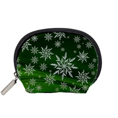 Christmas Star Ice Crystal Green Background Accessory Pouches (small)
