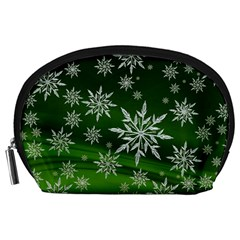 Christmas Star Ice Crystal Green Background Accessory Pouches (large)