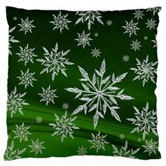 Christmas Star Ice Crystal Green Background Large Flano Cushion Case (two Sides)