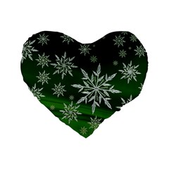 Christmas Star Ice Crystal Green Background Standard 16  Premium Flano Heart Shape Cushions