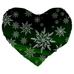 Christmas Star Ice Crystal Green Background Large 19  Premium Flano Heart Shape Cushions