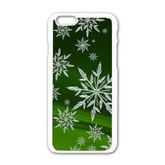 Christmas Star Ice Crystal Green Background Apple Iphone 6/6s White Enamel Case