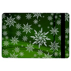 Christmas Star Ice Crystal Green Background Ipad Air 2 Flip