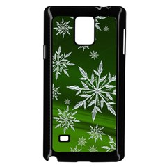 Christmas Star Ice Crystal Green Background Samsung Galaxy Note 4 Case (black)