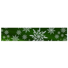 Christmas Star Ice Crystal Green Background Small Flano Scarf