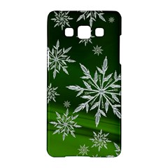 Christmas Star Ice Crystal Green Background Samsung Galaxy A5 Hardshell Case