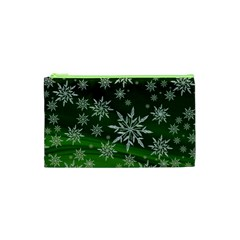Christmas Star Ice Crystal Green Background Cosmetic Bag (xs)