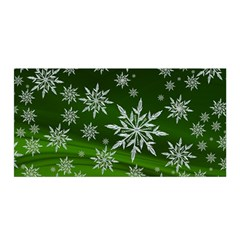 Christmas Star Ice Crystal Green Background Satin Wrap