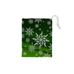 Christmas Star Ice Crystal Green Background Drawstring Pouches (xs)