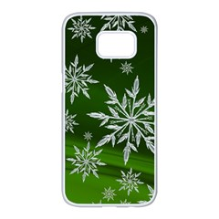 Christmas Star Ice Crystal Green Background Samsung Galaxy S7 Edge White Seamless Case