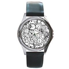 Time Clock Watches Time Of Round Metal Watch