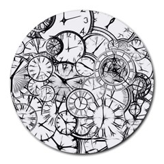Time Clock Watches Time Of Round Mousepads