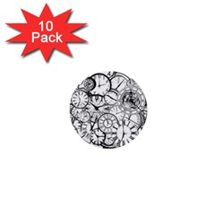 Time Clock Watches Time Of 1  Mini Buttons (10 Pack)