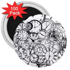 Time Clock Watches Time Of 3  Magnets (100 Pack)