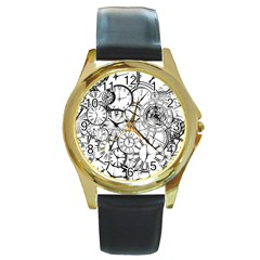 Time Clock Watches Time Of Round Gold Metal Watch