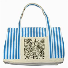 Time Clock Watches Time Of Striped Blue Tote Bag