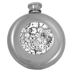 Time Clock Watches Time Of Round Hip Flask (5 Oz)