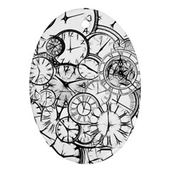 Time Clock Watches Time Of Oval Ornament (two Sides)