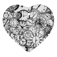 Time Clock Watches Time Of Heart Ornament (two Sides)