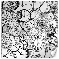 Time Clock Watches Time Of Canvas 16  X 16